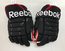 "Reebok 852 4 Roll Pro Stock Hockey Gloves 13"" Black Red Blackhawks 9222"
