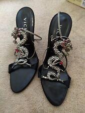Vicini black satin dragon high heels size 40
