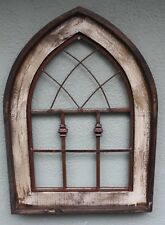 "Wooden Antique Style Church WINDOW Frame Primitive Wood Gothic 28"" Shabby"