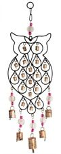 Wind Chime Wise Owl Bird Bell Bronzed Metal Fair Trade Home Indoor Garden