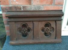 More details for three panels in solid oak  from pipe organ case, each featuring two quatrefoils