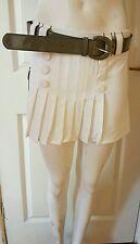 Ladies/Womens/girls cream High Waist Flared Plain Pleated Skater Skirt  Size s