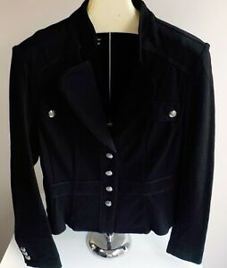 WHITE HOUSE/BLACK MARKET Black Knit Military Style Fitted Blazer SZ 12