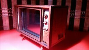 Miniature working vintage mid century TV, 1:12 dollhouse scale