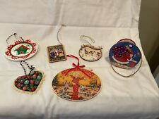 Lot Of 6 Mary Engelbreit Christmas Ornaments, 1990's, Gently Used