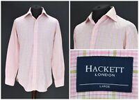Mens Hackett London Shirt Italian Cotton Pink Long Sleeve Check Size L