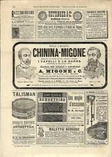 Stampa antica pubblicità ACQUA CHININA MIGONE e altro 1894 Old antique print