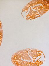 Vanilla & Mandarin. Hand Printed Gift Wrap & 2 Tags. Fox . 70 X 50cm. NEW IN!