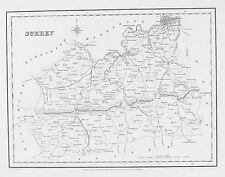 OLD ANTIQUE MAP SURREY by CREIGHTON / WALKER c1830's ENGRAVING for LEWIS