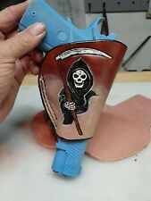 """Handmade Leather holster """" EMBOSSED & HAND PAINTED  REAPER"""" for 1911 & OTHERS"""