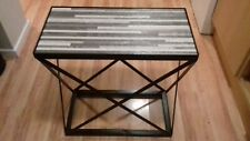 Hand made Occasional Table with Ceramic Table Top, Black & White Linear Design
