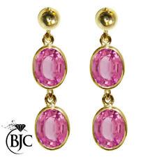 Orecchini di lusso con gemme rosa pendente in oro giallo