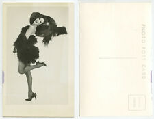 UNKNOWN SHOWGIRL/ACTRESS POSING IN UNIQUE HAT/GREAT DRESS/HEELS PHOTO POST CARD