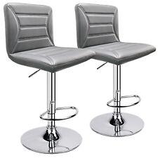 Modern PU Leather Adjustable Swivel Barstools, Set of 2 (Grey)