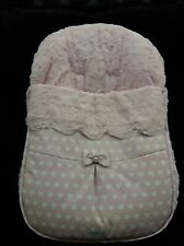 BNIP pink and white spanish baby car chair cover slight mark