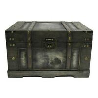 Old Distressed Black Fancy Storage Trunk Vintage Antique Style Chest