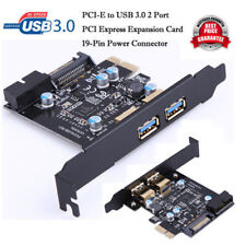 PCI-E to USB3.0 2 Port PCI Express Expansion Card 19-Pin Power Connector Adapter