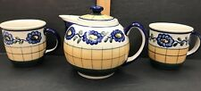 POLISH Ceramic Teapot & Coffee Cup Set 2 Mugs Pot & Lid Made in Poland