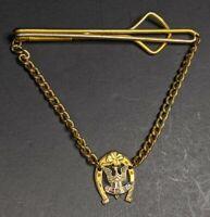 Vintage F O E Fraternal Order Of Eagles Tie Clip Gold Plated Eagle Horseshoe...