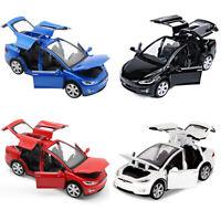 1/32 Tesla Model X 90D SUV Diecast Model Car Sound&Light Pull Back Collection