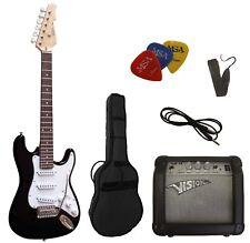 E-Gitarre Kinder ST-Set-Tasche-Band-/Gurt-3xPik/Plektren-Kabel-Verstärker GW15!