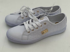 NEW! GUESS WOMEN'S MACK GOLD-TONE LOGO WHITE LEATHER SNEAKERS SHOES 8 38 SALE