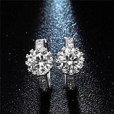 Ladies Girls Earring Silver Tone Big Cubic Zirconia Small Hoop Huggie Earrings