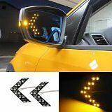 New Universal Amber/Yellow LED Mirror Arrow Lights 14 LED Turn Signal Panel