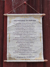 Dalai Lama Quote PARADOX OF OUR AGE Hand Made Paper Wallhanging