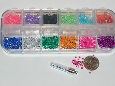 1200pc+Tiny Fairy Rhinestone Round confetti Gel gems KIT Case 12 Mix for bottle