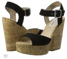 Steve madden Suede Cork Sandal Strappy Wedges Size 38 5 Immaculate. Worn Once