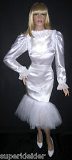 Deluxe vestido volantes satén PVC Sissy bondage Maid transexuales tras Mass (glam 068)