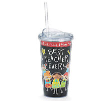 Best Teacher Ever Insulated Tumbler Cup 20 oz Clear Lid and Straw Gift Decor