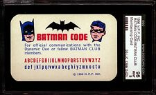 1966 NPP Inc Batman Code Club MEMBERSHIP CARD SGC Graded 96 MINT 9 • RARE !!!!!!