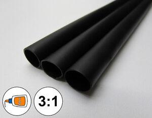 "(1 FOOT) 1.5"" Black Heat Shrink Tube 3:1 Dual Wall Adhesive Glue Marine/to 1-1/2"