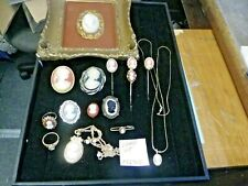 Vintage Costume Cameo Jewelry Lot Brooch Earrings Pendant Necklace rings 072702