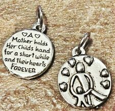 2 Mother Holds Child Hand Hearts Forever Word Quote Charm Pendants Love for MOM