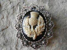 2 IN 1- SCOTTISH THISTLE CAMEO (HAND PAINTED) - SCOTLAND -BROOCH / PIN / PENDANT