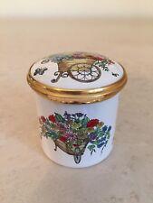 Cartier Signed Enamel Trinket Box Flowers For My Love Floral Basket England