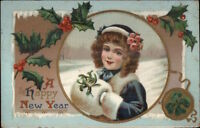 New Year - Little Girl in Blue Coat & Hat w/ Muff c1910 {pstcard