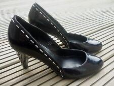 JONES Ladies Black Patent Leather White Trim High Heel Court Shoes EU 41 UK 8