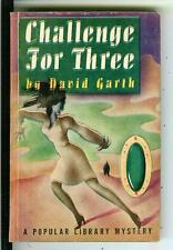 CHALLENGE FOR THREE by David Garth, rare US Pop Lib crime noir pulp vintage pb