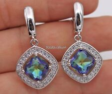 18K Whte Gold Filled -Square Blue MYSTICAL Topaz Hollow Lady Club Hoop Earrings