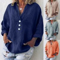 Women V Neck Baggy Shirts Casual Long-Sleeve Cotton Linen Oversized Blouse Tops