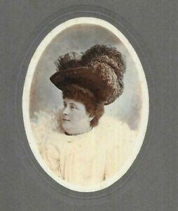 Edwardian Cabinet Photo Large Woman Hat Hand Coloured Tinted Hawker Newbury 1911