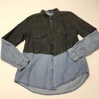Zara Paint Dipped Denim Jean Chambray Button Down Collared Blouse Shirt Top M