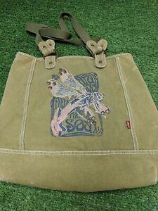 Levis Free The Soul Tote Shoulder Bag Purse Olive Green Graphic Print Boho