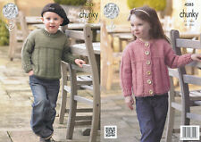 Kids Chunky Knitting Pattern King Cole Childrens Sweater Jumper Cardigan 4285