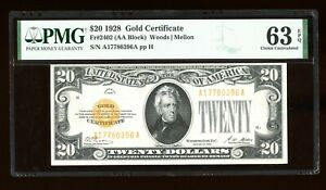 DBR 1928 $20 Gold Certificate Fr. 2402 PMG 63 EPQ Serial A17780396A