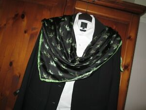 Large Silk Scarf by TED BAKER - Black with Green - Mallards  38 ins square